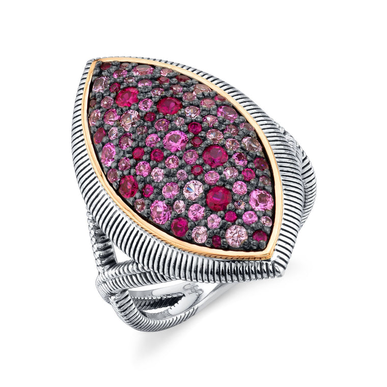 Sterling Silver & Pink Sapphire Marquise Ring (1.35ct)