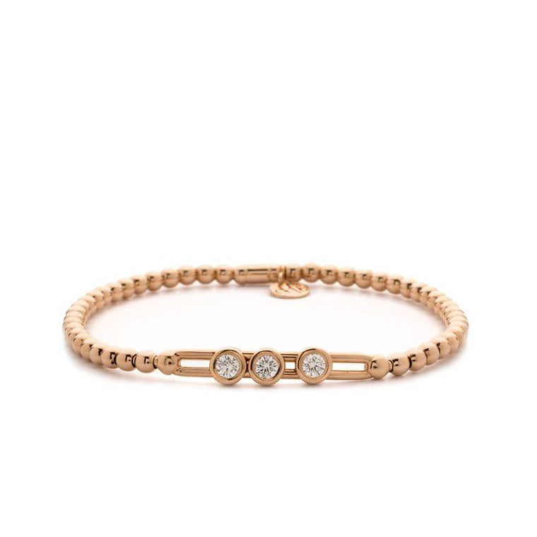 18k Rose Gold Stretch Bracelet With 3 Station Sliding Diamonds (.27ct G Vs)