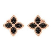 Princess Flower Earrings With Black Diamonds .35cts  (18k Rose Gold)