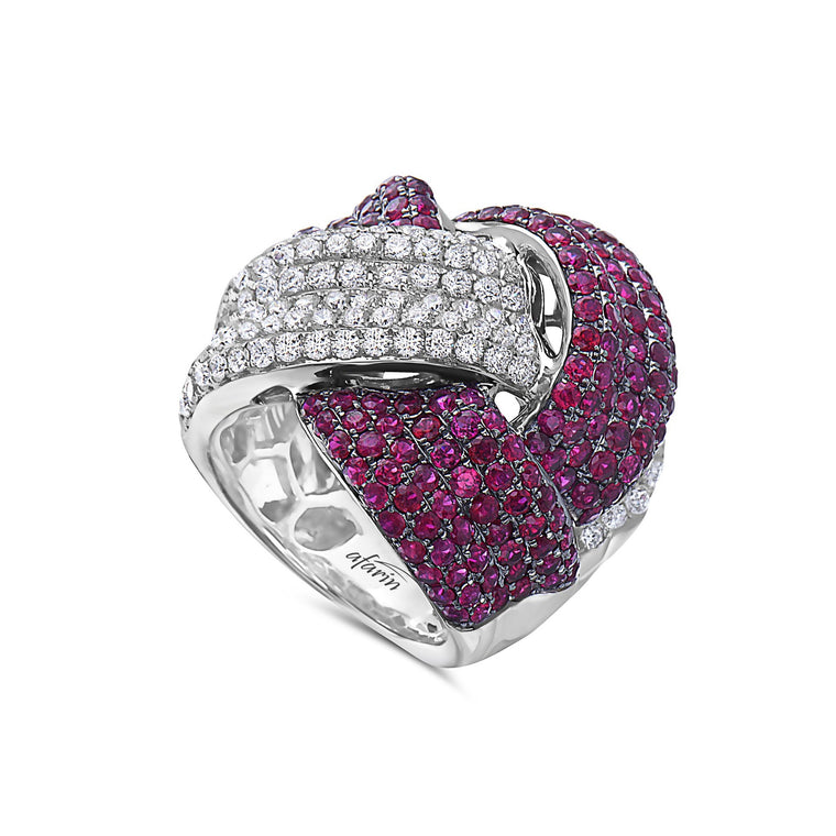 18k White Gold Ruby & Diamond Twist Ring (2.35ct)