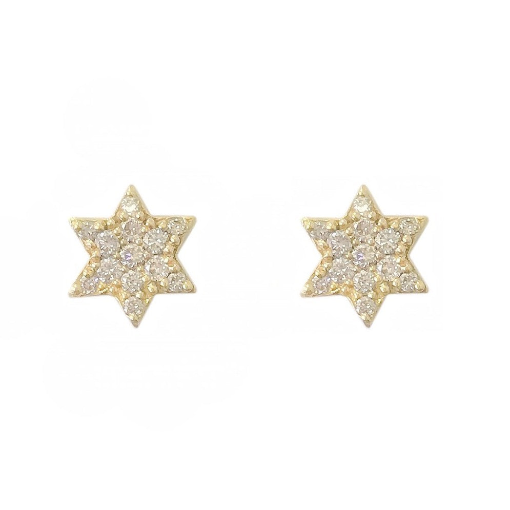 14k Yellow Gold Star Pave Diamond Stud Earrings