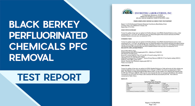 Black Berkey Perfluorinated Chemicals PFC Removal Test Report