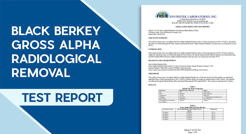 Black Berkey Gross Alpha Radiological Removal Test Report