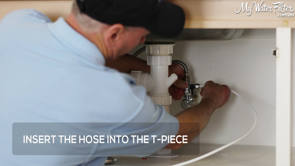 Insert the water filter hose into the T-Piece