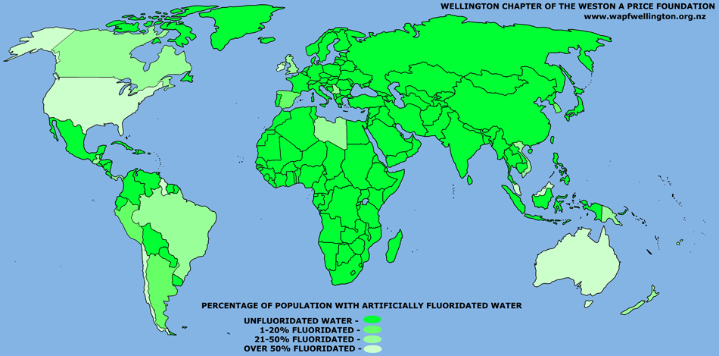 Countries without fluoride in drinking water