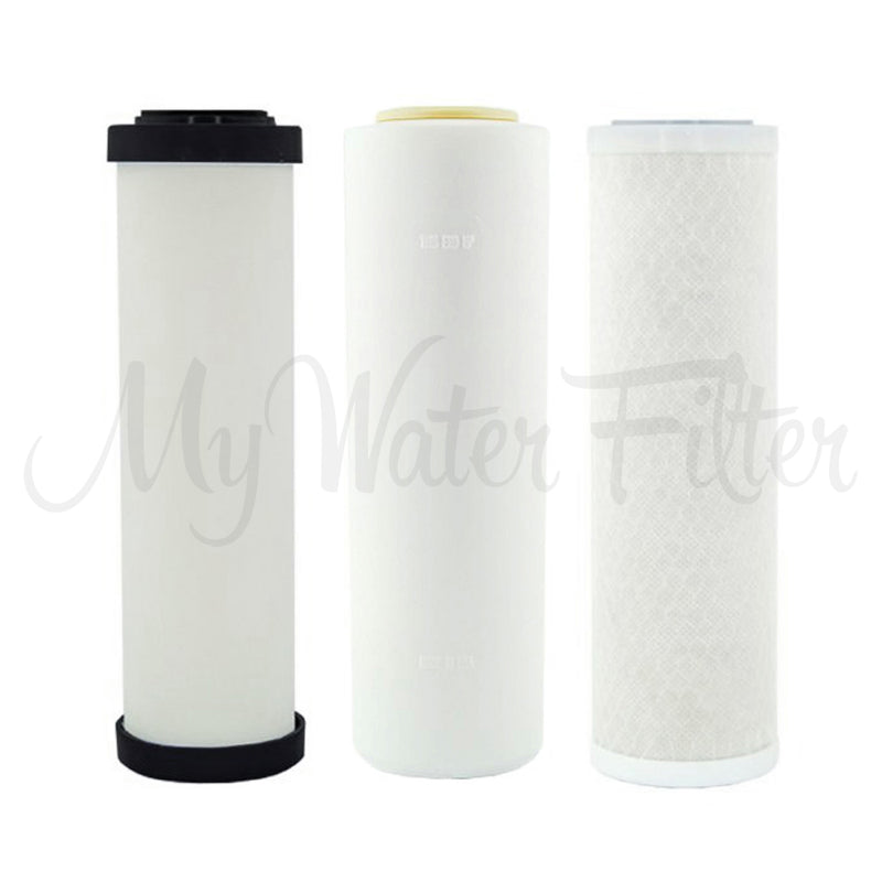 "Replacement Cartridge Pack for Doulton Ultracarb 0.5 Micron 10"" Triple Benchtop-Under Sink City Water Filter with Fluoride Removal & Double Carbon"
