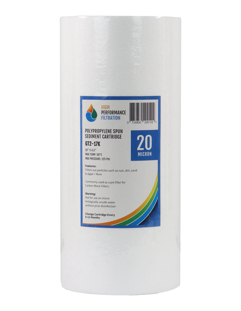 "HPF 20 Micron Polyspun Sediment Whole House Water Filter Replacement Cartridge 10"" x 4.5"""