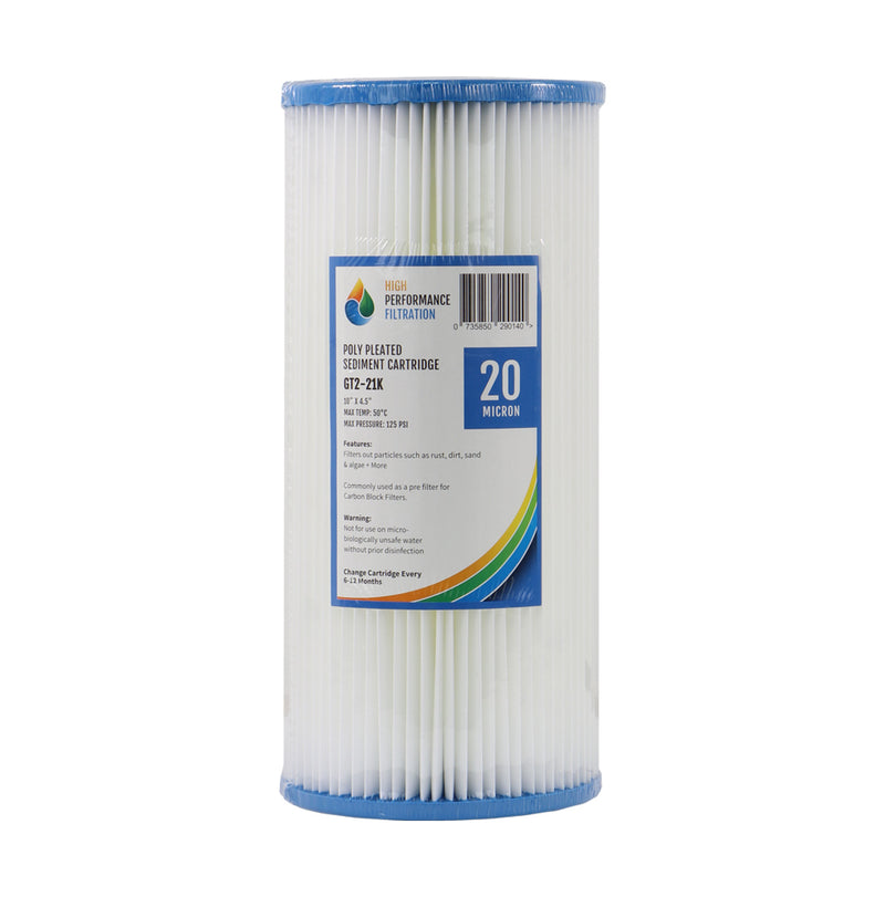 "HPF 20 Micron Pleated Sediment Whole House Water Filter Replacement Cartridge 10"" x 4.5"""