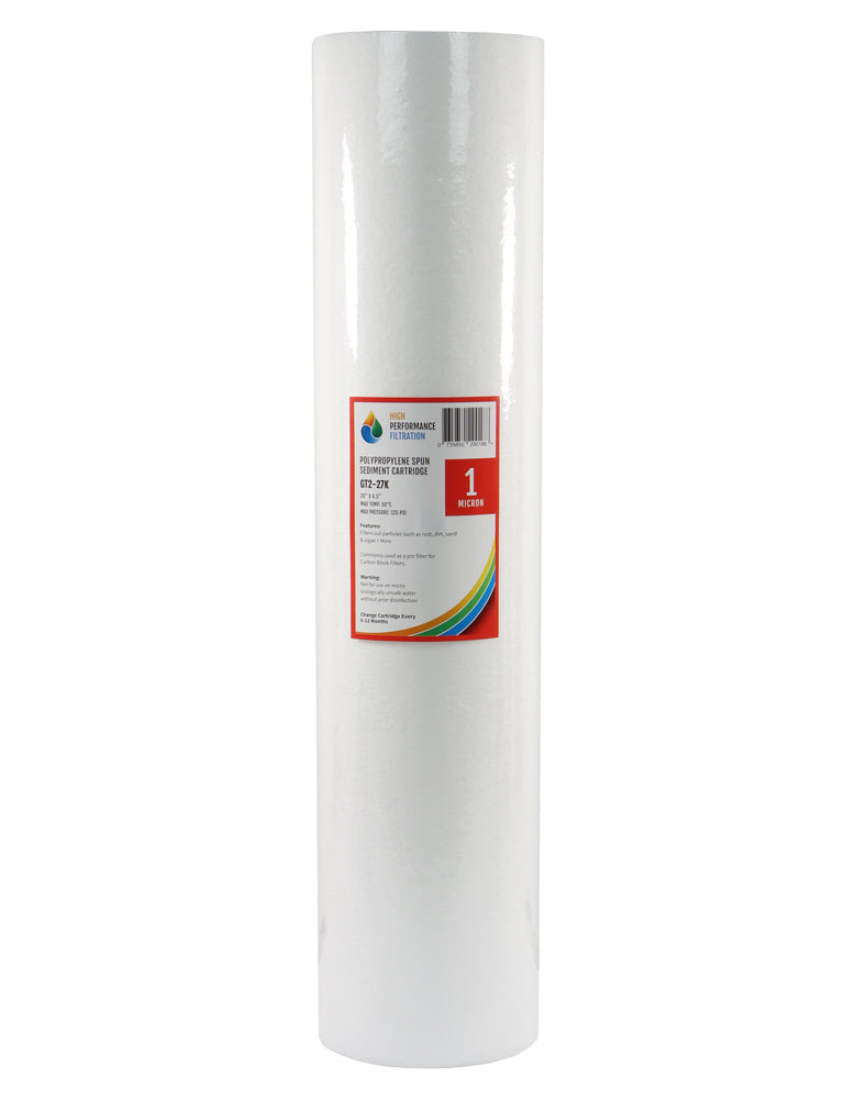 "HPF 1 Micron Polyspun Sediment Whole House Water Filter Replacement Cartridge 20"" x 4.5"""