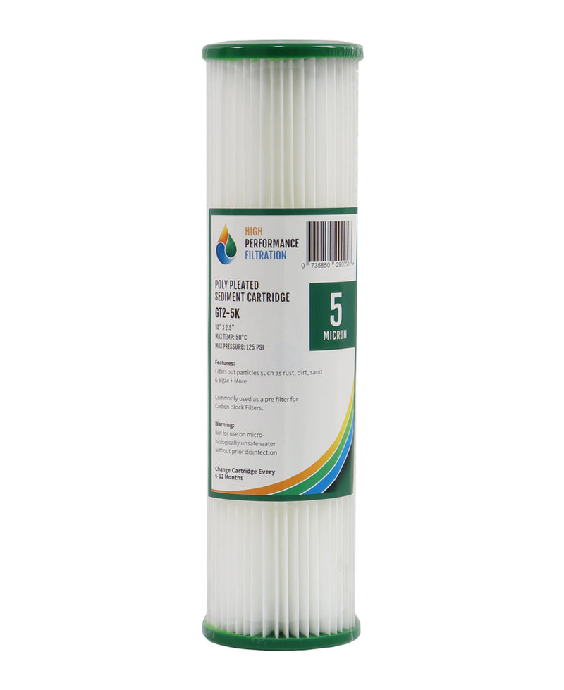 "HPF 5 Micron Pleated Sediment Water Filter Replacement Cartridge 10"" x 2.5"""