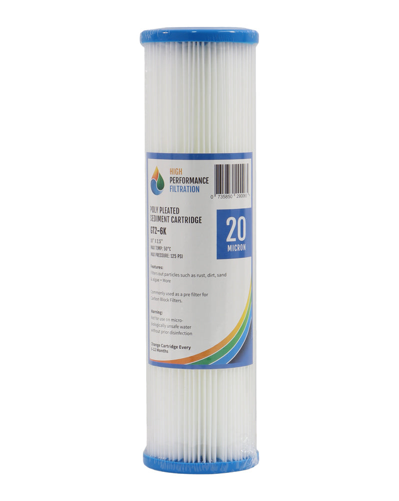 "HPF 20 Micron Pleated Sediment Water Filter Replacement Cartridge 10"" x 2.5"""