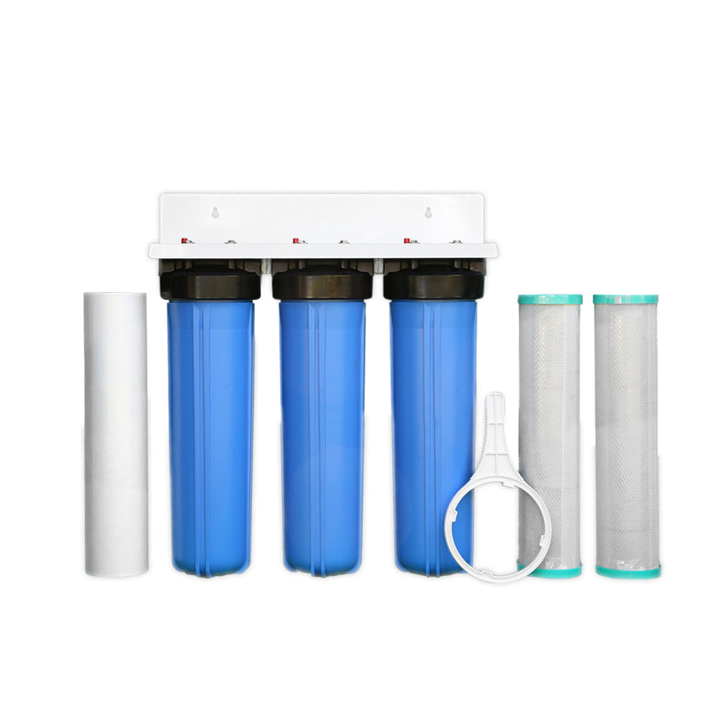 "MWF 20"" x 4.5"" Triple Big Blue Whole House Water Filter System"