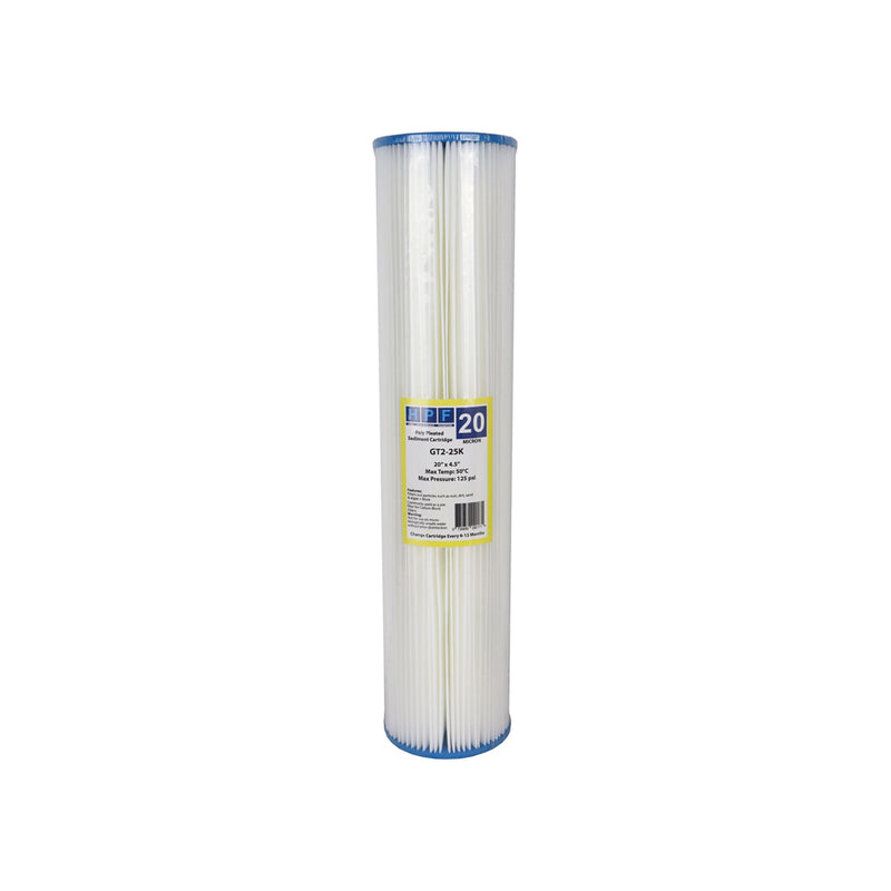 "HPF 20 Micron Pleated Sediment Whole House Water Filter Replacement Cartridge 20"" x 4.5"""