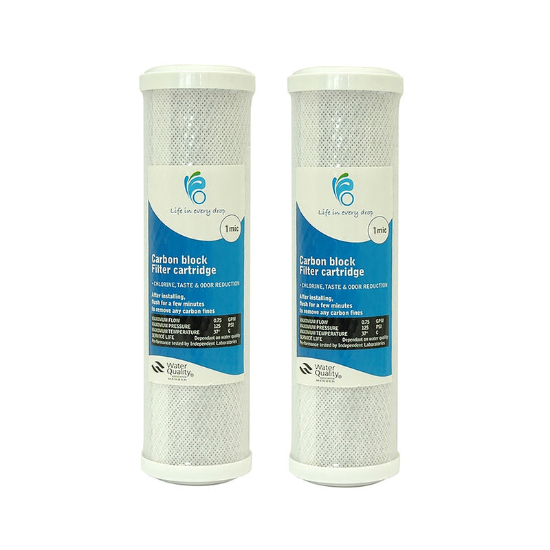 "Life In Every Drop 1 Micron Carbon Block Water Filter Replacement Cartridge 10"" x 2.5"" - 2 Packs"
