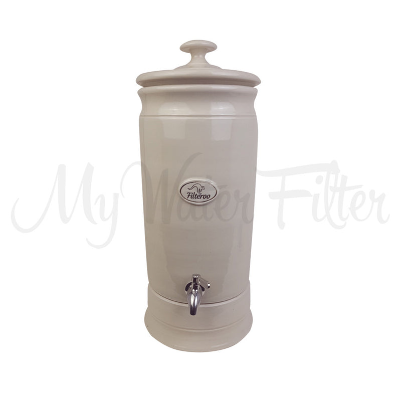 FILTEROO 10L Gravity Fed Stoneware Water Filter with Ceramic - Carbon Cartridge