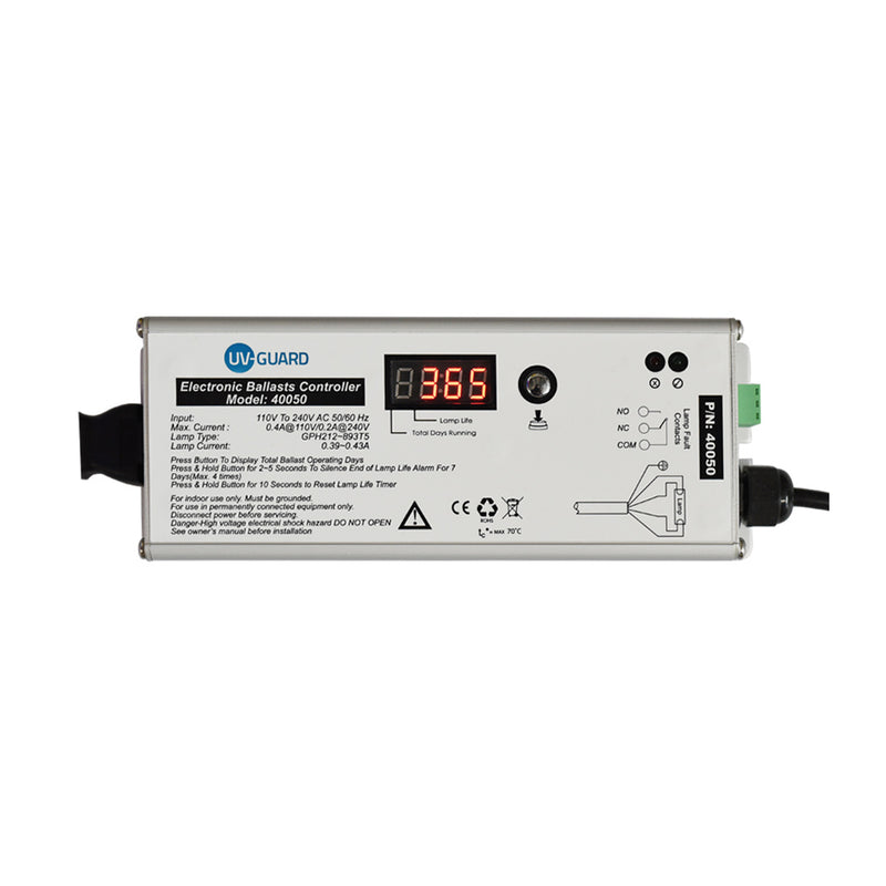 UV Guard UV Controller 40050 with Lamp On-Off LEDs, Lamp Fail Alarm, Digital Lamp Life Timer & BMS Fault Connections (requires shelter)