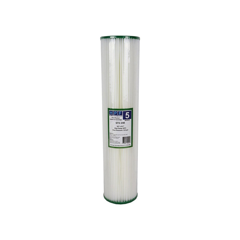"HPF 5 Micron Pleated Sediment Whole House Water Filter Replacement Cartridge 20"" x 4.5"""