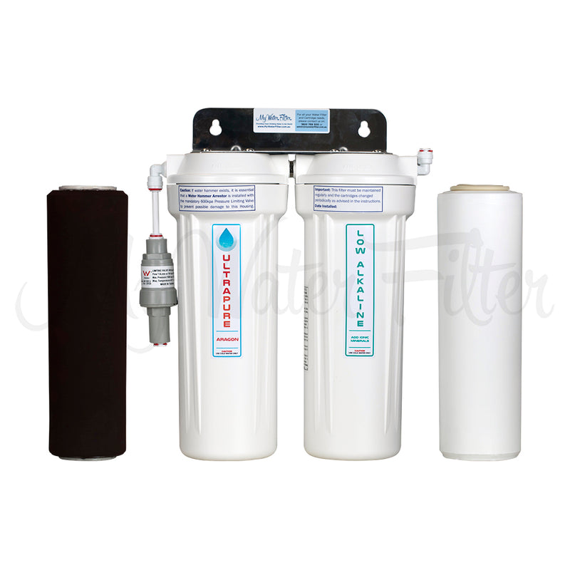 "ULTRAPURE Aragon 10"" Twin Under Sink Water Filter System with Low Alkaline"