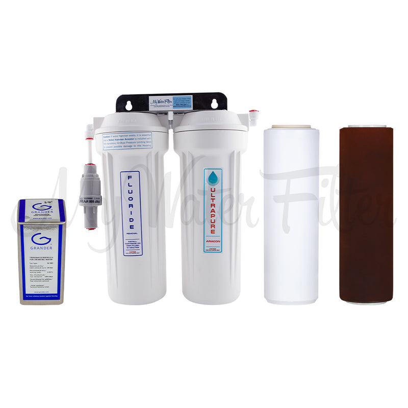 "Grander Revitalisation Structured Water Device and ULTRAPURE Aragon 10"" Twin Under Sink Water Filter System with Fluoride Removal with watermark"