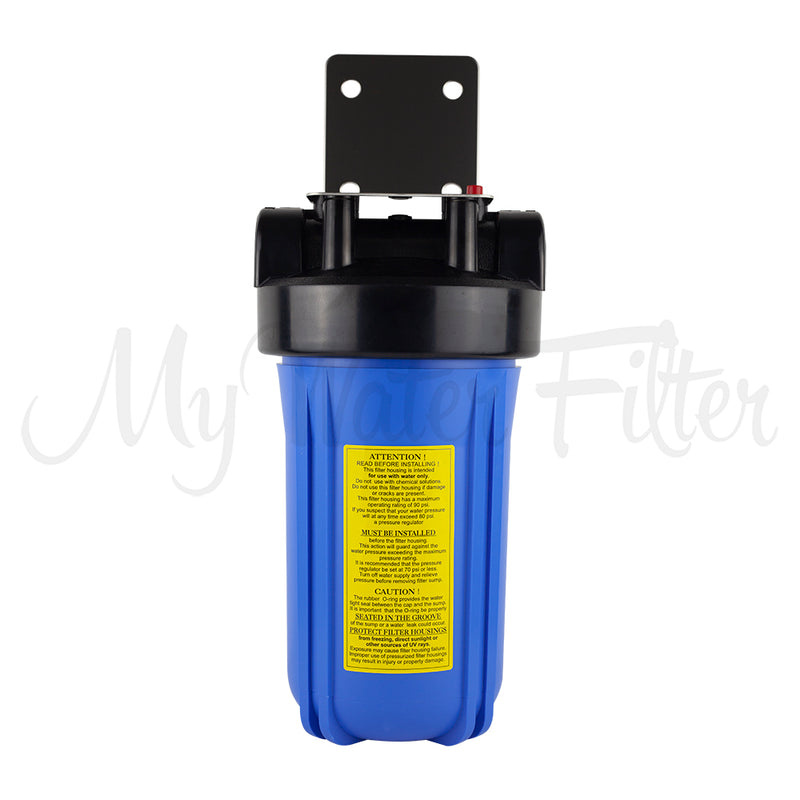"MWF 10"" x 4.5"" Single Stage Big Blue Water Filter System - Stainless Steel Bracket - with your Choice of Cartridge"