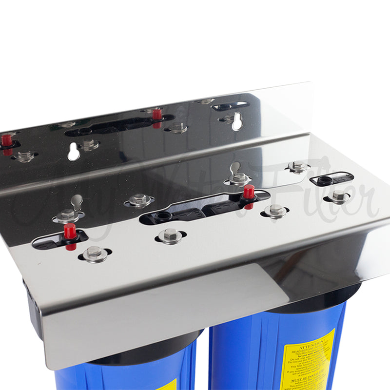 "MWF 10"" x 4.5"" Twin Big Blue Water Filter System - Stainless Steel Bracket - with your Choice of Cartridge"