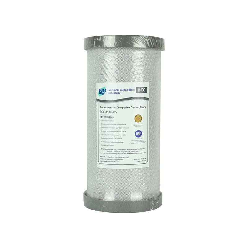 "Pure BCC 5 Micron Silver Impregnated Carbon Block Whole House Water Filter Replacement Cartridge 10"" x 4.5"""