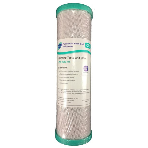 "Pure CTO 1 Micron Coconut Carbon Block Water Filter Replacement Cartridge 10"" x 2.5"""