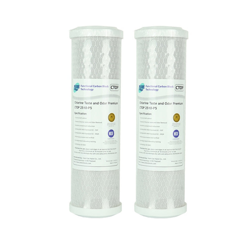 "Pure CTOP 0.5 Micron Carbon Block Water Filter Replacement Cartridge 10"" x 2.5"" - 2 Packs"