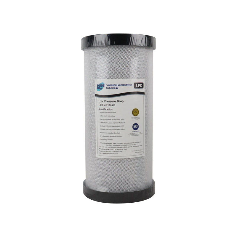 "Pure LPD 20 Micron Low Pressure Carbon Block Whole House Water Filter Replacement Cartridge 10"" x 4.5"""