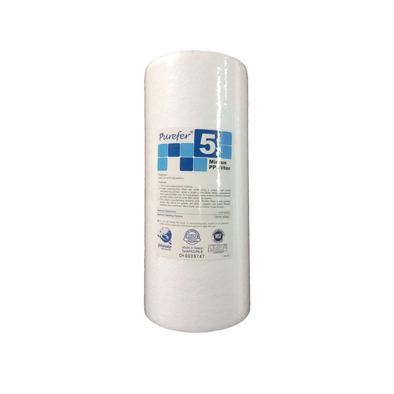 "Purefer 5 Micron Polyspun Sediment Water Filter Replacement Cartridge 10"" x 4.5"""