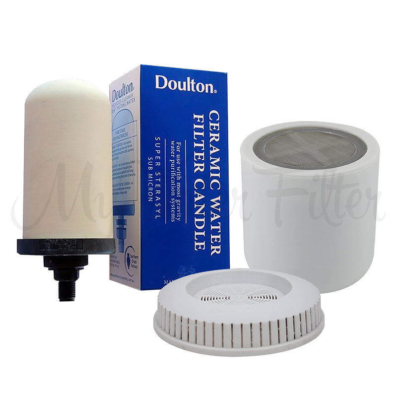Replacement Cartridge Pack for Filteroo Ceramic Stoneware Gravity Water Purifier with Doulton Candle