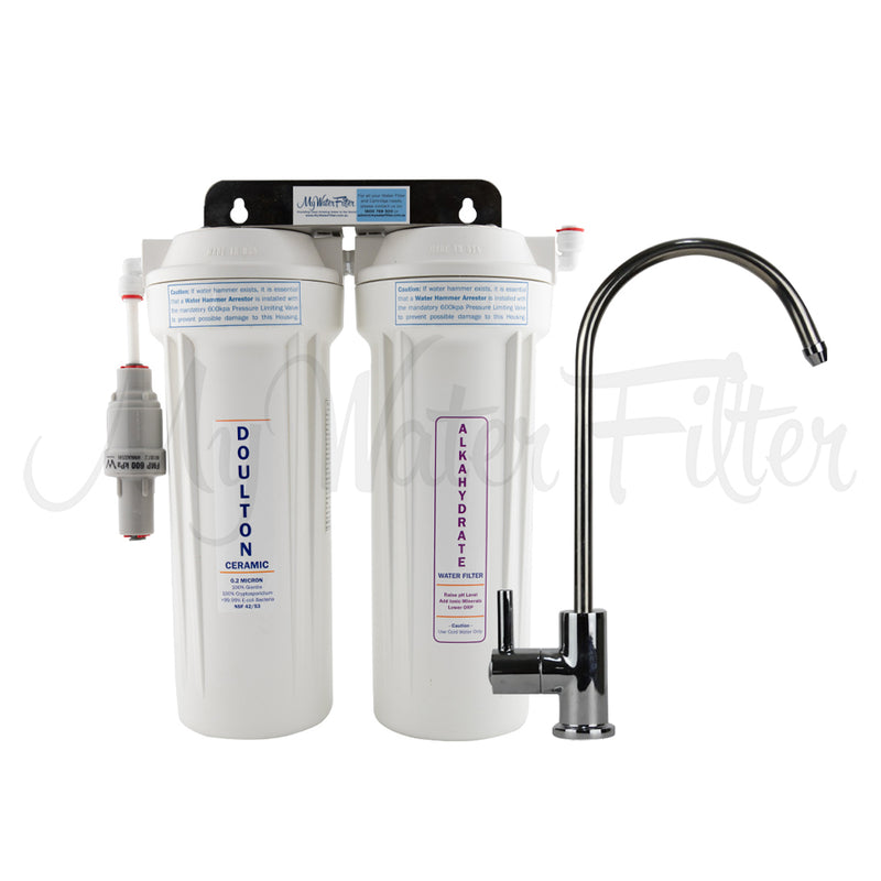 "Doulton Ultracarb 0.5 Micron 10"" Twin Under Sink Water Filter System with Alkaline"