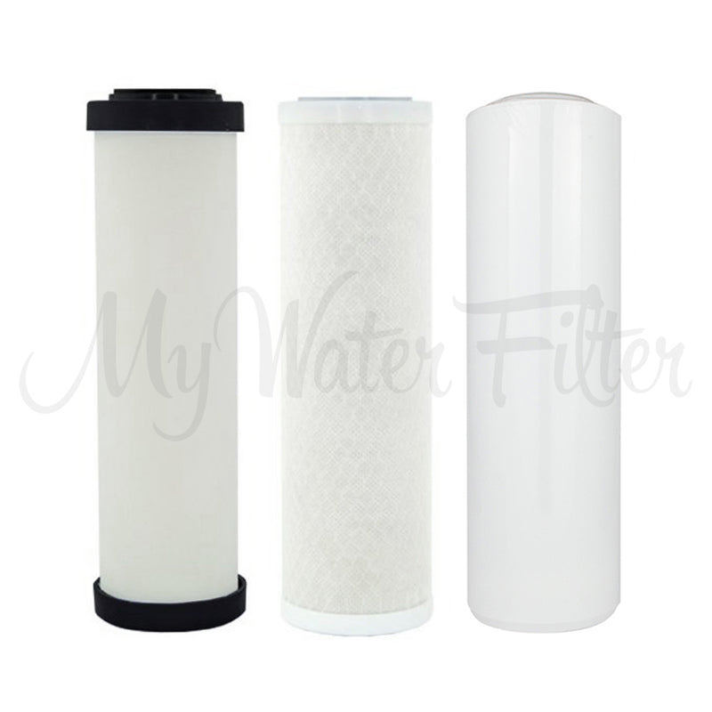"Replacement Cartridge Pack for Doulton Ultracarb 0.5 Micron 10"" Triple Benchtop-Under Sink Water Filter with Alkaline & Double Carbon"
