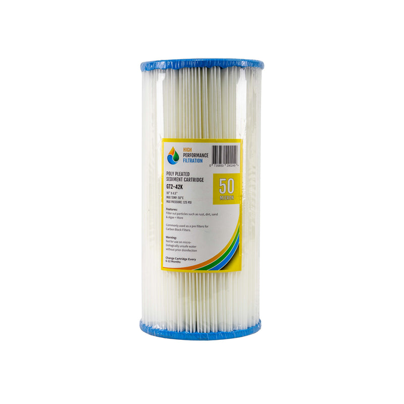 "HPF 50 Micron Pleated Sediment Whole House Water Filter Replacement Cartridge 10"" x 4.5"""