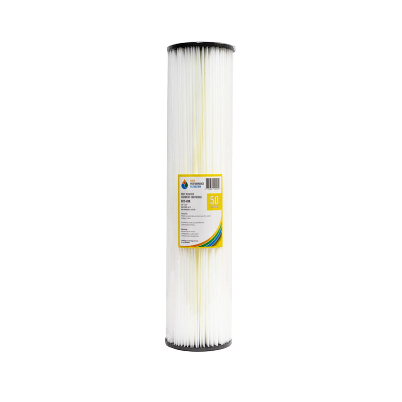 "HPF 50 Micron Pleated Sediment Whole House Water Filter Replacement Cartridge 20"" x 4.5"""