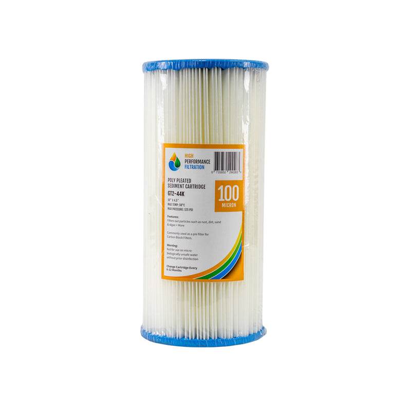 "HPF 100 Micron Pleated Sediment Whole House Water Filter Replacement Cartridge 10"" x 4.5"""
