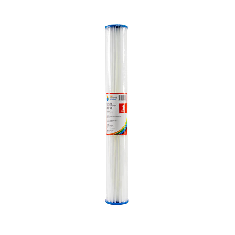 "HPF 1 Micron Pleated Sediment Whole House Water Filter Replacement Cartridge 20"" x 2.5"""