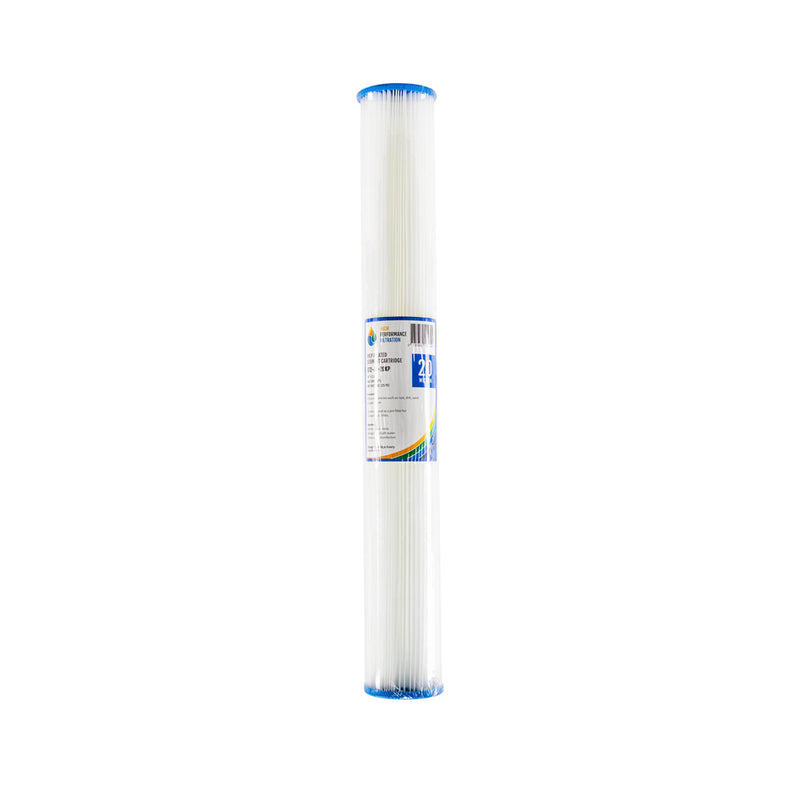 "HPF 20 Micron Pleated Sediment Whole House Water Filter Replacement Cartridge 20"" x 2.5"""