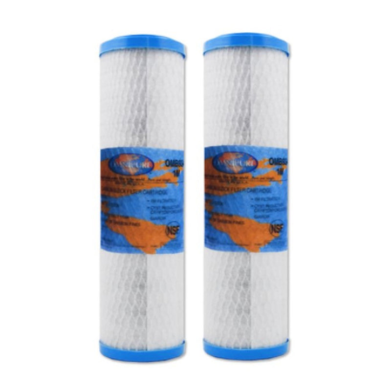 "Omnipure OMB934 5 Micron Carbon Block Water Filter Replacement Cartridge 10"" x 2.5"" - 2 Packs"