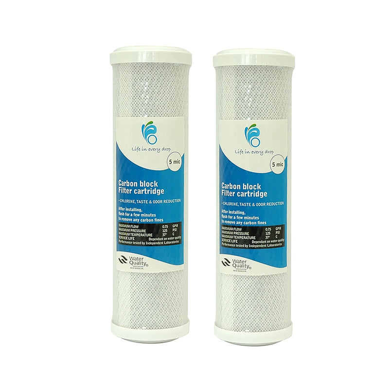 "Life in Every Drop 5 Micron Carbon Block Water Filter Replacement Cartridge 10"" x 2.5"" - 2 Packs"