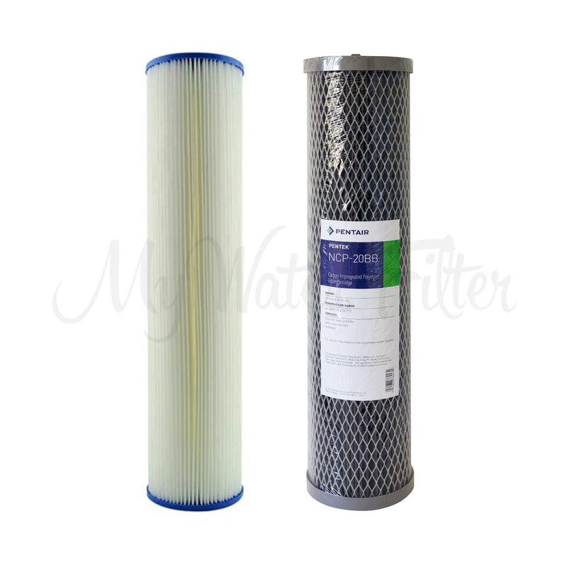 "Replacement Cartridge Pack for MWF 20"" x 4.5"" Twin Big Blue Whole House LOW PRESSURE Rain Water Tank Filter System"