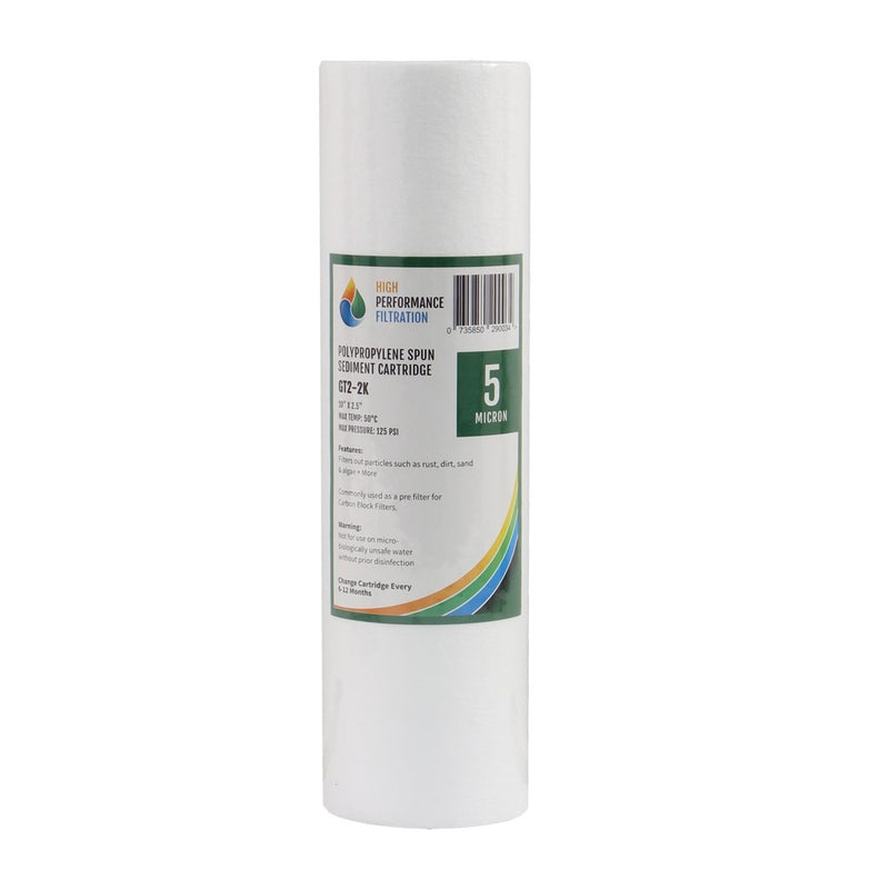"HPF 5 Micron Polyspun Sediment Water Filter Replacement Cartridge 10"" x 2.5"""