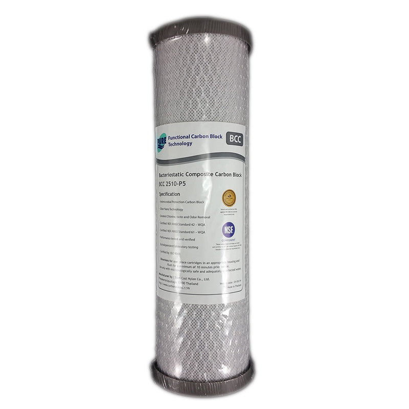 "Pure BCC 0.5 Micron Silver Impregnated Carbon Block Water Filter Replacement Cartridge 10"" x 2.5"""