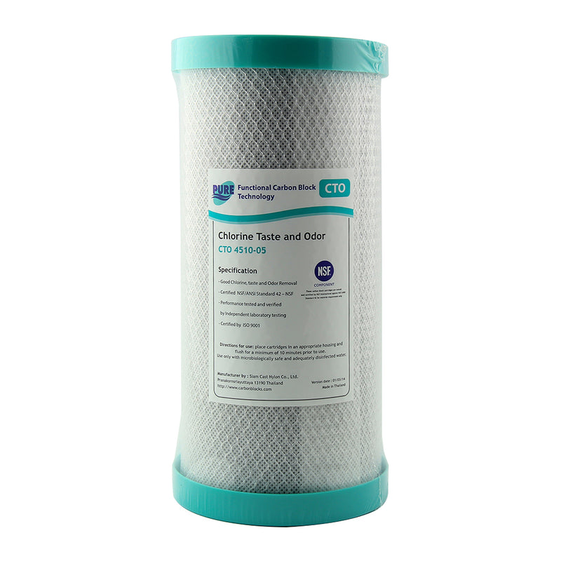 "Pure CTO 5 Micron Carbon Block Whole House Water Filter Replacement Cartridge 10"" x 4.5"""