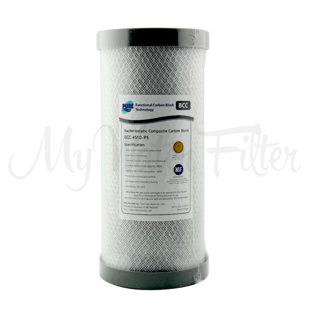 "Pure BCC 0.5 Micron Silver Impregnated Carbon Block Whole House Water Filter Replacement Cartridge 10"" x 4.5"""