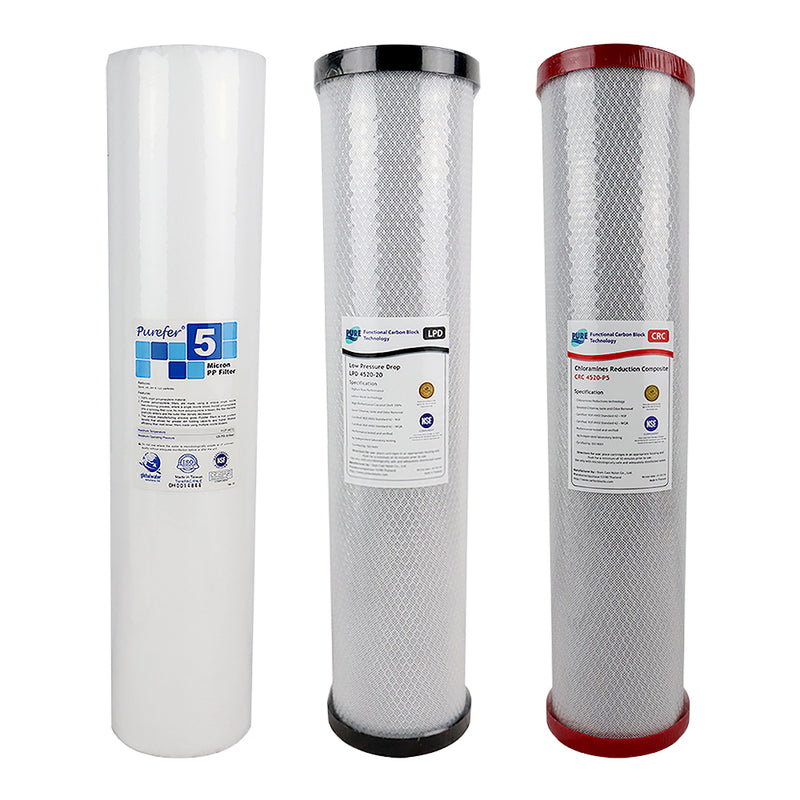 "Replacement Cartridge Pack for HPF 20"" x 4.5"" Triple Big Blue Whole House Chloramine Reduction Water Filter System"