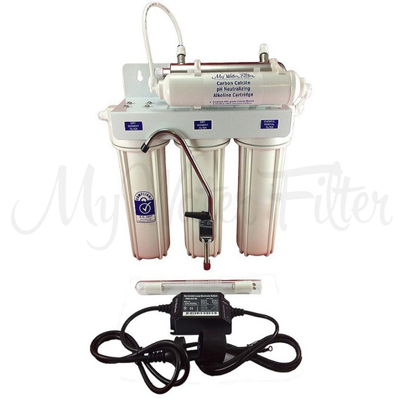"Triple Stage 10"" Under Sink Water Filter System with Ultraviolet Light and pH Neutralisation for Untreated Water"
