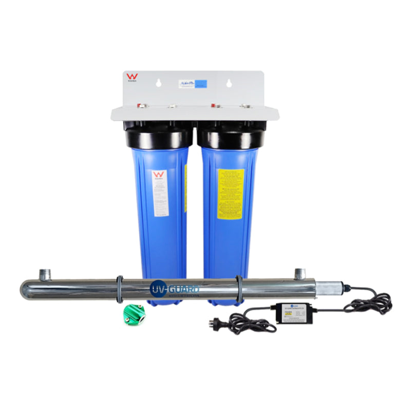 "MWF 20"" x 4.5"" Twin Big Blue Whole House Rain Water Tank Filter System Complete with Ultraviolet Light & Positive Charged Water Magnet"