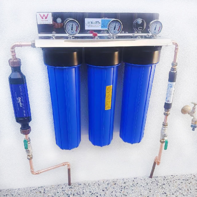 "MWF 20"" x 4.5"" Triple Big Blue Whole House Water Filtration System Complete With Hard Water Protection & Kinetic Water Energiser"