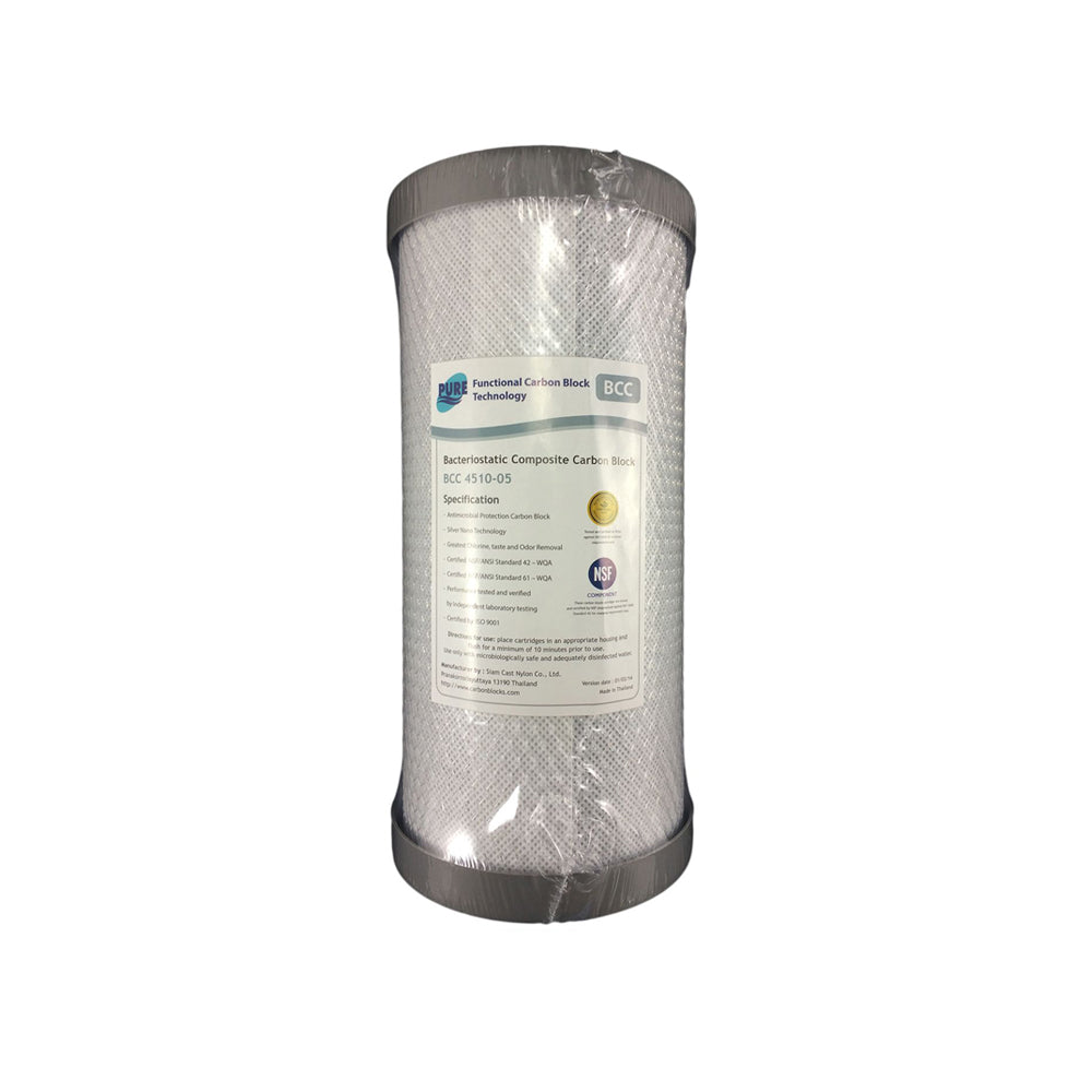 Pure BCC 0.5 Micron Silver Impregnated Carbon Block Whole House Water Filter Replacement Cartridge 10